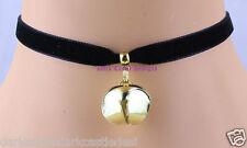 De 9 mm Hecho A Mano Terciopelo Negro Collar Gargantilla Oro Bell Gato Collar Goth Cosplay Reino Unido