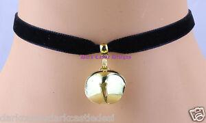 9mm Handmade black velvet choker necklace gold bell cat collar goth cosplay UK