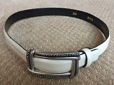 "Genuine Vicenza Leather 1"" Off White Belt metal buckle Italian calfskin size 26"