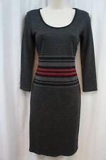 Studio M Sweater Dress Sz M Black Gray Multi Color Striped 3/4 Sleeve Casual