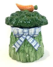 Fitz and Floyd Gardening Bouquet Broccoli Canister Carrot Lid Ceramic