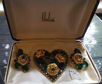 Vtg Signed HOBE Large Rhinestone Heart-Shaped Brooch and Earring Demi Parure Set