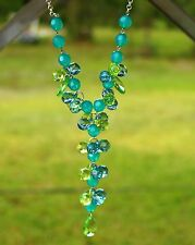ROBERT ROSE signed Victorian style blue green acrylic bead silver tone NECKLACE