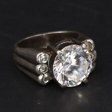 Ridged Cocktail Ring Size 7 - 8.5g Vtg Sterling Silver Cz Cubic Zirconia Cluster