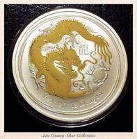 Flawless 2012 Australia 1 Oz Silver Lunar 2 Year of the Dragon Gilded Coin