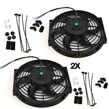 "2x 10"" inch Universal Slim Fan Push Pull Electric Radiator Cooling 12V Mount Kit"