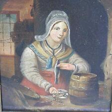 BIEDERMEIER Maler 1.H.19. Jhd. GENRE Fischhändlerin Hering fish market herring