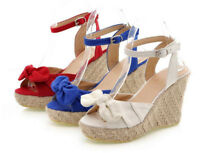 Fashion Peep Toe Fabric Bowknot Woven Wedge Heel Sandals Buckle Ankle Lady Shoes