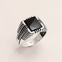 Black Spinel Men's Ottoman Signature Ring 925 Sterling Silver Christmas Jewelry