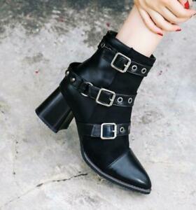 All UK Size Women Ankle Boots Buckle Pointy Toe High Heel Block Side Zip Punk