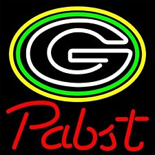 """Pabst Blue Ribbon Green Bay Packers Football NFL Neon Sign 24""""x20"""""""