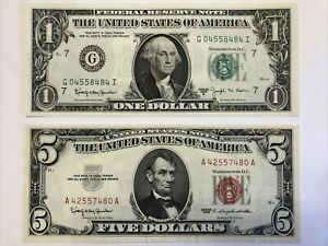Pair Two Old 1963 Note $5 dollar Red Seal Federal Reserve $1 Green Uncirculated