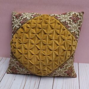 Vintage Gold Yellow Velvet Embroidered Tapestry Pillow Belgian Roses Victorian