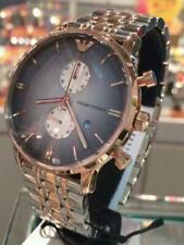 Reloj Cronógrafo nuevo Genuino EMPORIO ARMANI AR1721 hombre plata tono Rosa Dorado