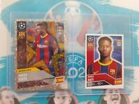 2020-21 TOPPS INVEST LOT(2) ANSU FATI FIRST CHAMPIONS LEAGUE RC STICKERS 📈