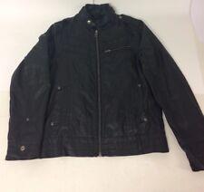 Burton Mens Faux Leather Black Biker Bomber Jacket Size S 35-38 Inch Chest