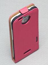 Handy Flip Style Tasche Cover  Case Hülle Etui in Pink für für HTC ONE X