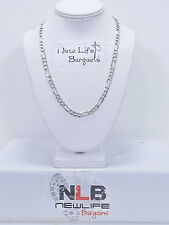 """.925 Sterling Silver 22"""" Figaro Link Necklace 6.7 mm 34.95 Grams"""