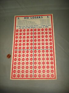 Old Punch Card Trade Stimulator NO LOSERS 1c Candy Promotion NOS