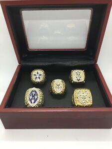 5 Pcs Dallas Cowboys Super Bowl Championship Gold Ring Set with Display Box