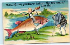 Having My Picture Taken Caught With a Huge Massive Big Fish Vintage Postcard C99
