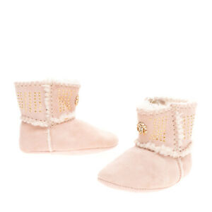 ROBERTO CAVALLI JUNIOR Baby Leather Boots EU 17 UK 1 US 2 Faux Fur Made in Italy
