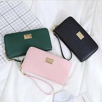 Lady Women Zipper PU Leather Clutch Coin Phone Bag Long Purse Wallet Card Holder