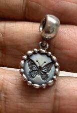 STUNNING HTF Genuine Retired Pandora Butterfly Cameo Dangle Charm