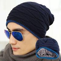 Men Women Crochet Knit Plicate Baggy Beanie Wool Hat Skull Winter Warm Chic Cap