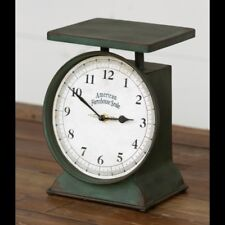 CLASSIC VINTAGE FARMHOUSE COUNTRY KITCHEN OLD FASHIONED GREEN SCALE CLOCK