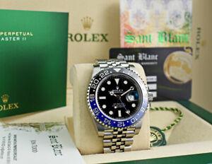 ROLEX Stainless Steel GMT Master II Batman Blue Black Bezel 126710 SANT BLANC