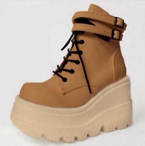 Women's Shoes Ankle Boots Shiny Platform Buckle Strap Casual Heel Biker Colorful
