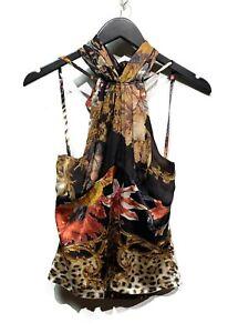 Roberto Cavalli Black Floral Silk Halter Top