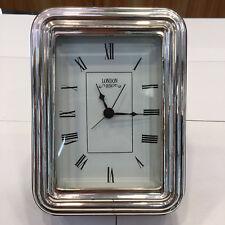 Sveglia da tavolo in legno, argento 925 e vetro molato con movimento al quarzo