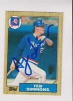 1987 Topps #516 AUTOGRAPH Ted Simmons card, St. Louis Cardinals HOF