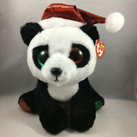 "Ty Beanie Boos 9"" Medium PANDY CLAUS the Christmas Panda Claire's Exclusive MWMT"