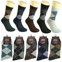 3-12 pairs Men Multi Color Argyle Cotton Fashion Casual Dress Socks 10-13
