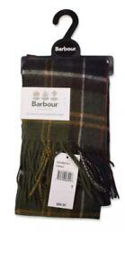 New Barbour Classic Tartan Merino Wool Cashmere Scarf Green Earthtone Plaid NWT