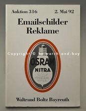 Catalogue vente aux enchères Boltz Email plaques et la publicité mai 1992