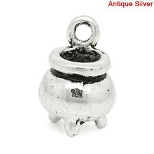 50pcs Witch Cauldron Charm Antique Silver 12mm x 8mm Magic Wicca Pagan Druid