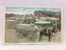 Vintage Cotton Gin Scene Postcard Picking Production Horse Drawn Carts Wagon