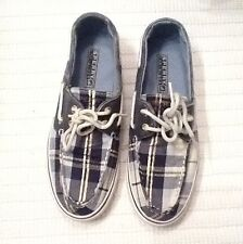 WOMEN'S SPERRY TOP SIDER BOAT BLUE / WHITE / GOLD PLAID SHOES-5,5 M