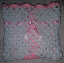 "LOVELY HAND CROCHET BABY DOLL BLANKET,with spot Ribbon-WHITE &  PINK (18"" x 18"")"