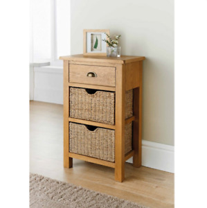 Oak Hallway Console Table Small Side Telephone Unit Basket Drawers Cabinet New.