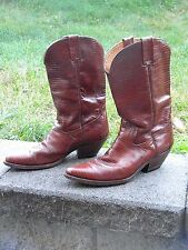 1980 Western Style Brown/Red Snakeskin Pattern Pull-On Boots for Men by Macy's