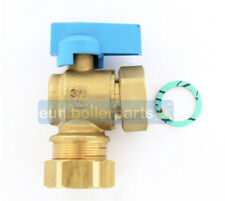 """Universal Angled 90 Degree Isolation Valve 22mm x 3/4"""" For Boilers (BLUE)"""