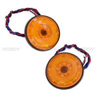 2 Pieces Round Reflector 6mm Nuts LED Rear Tail Brake Stop Light Red Lens Amber