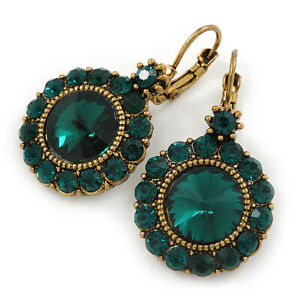 Vintage Inspired Round Cut Emerald Green Glass Stone Drop Earrings With