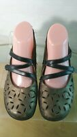 RIEKER Women's Mary Jane Bronze Leather Cut Out Flats Size 40 / 9 US