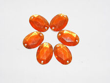 Strass scrapbooking a coudre★LOT DE 5 Orange ovale-1,8 cm (18mm) ★Neuf